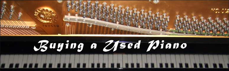 Image showing the inside of a piano with the text - Buying a Used Piano.
