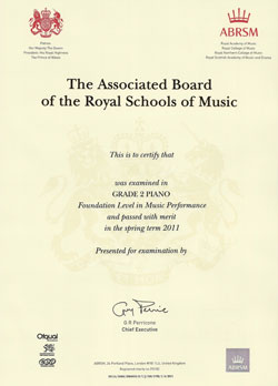 Image of a certificate awarded by the Associated Board of the Royal Schools of Music.