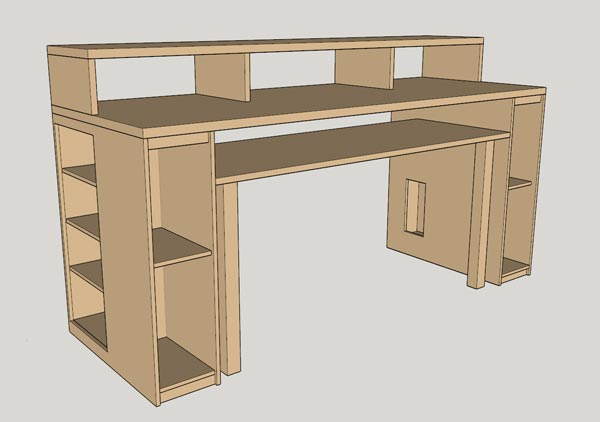 The final design for my desk, shown in shades of brown on a grey background.