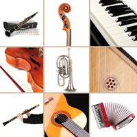 A photo showing a selection of musical instruments.