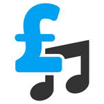 Blue UK pound sign on top of two eigth notes (quavers), on a white background.