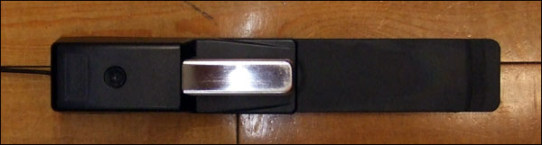 The Roland DP10 sustain pedal, showing its swivel out rubber base for the heel.