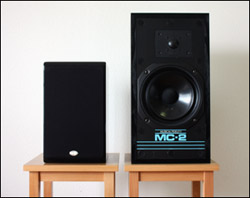 Two speakers of different sizes on speaker stands.