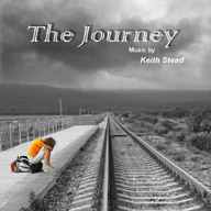 CD Cover of 'The Journey' showing a young woman on an empty train platform. The tracks go off into the distance - a cloudy landscape.