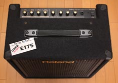 Keyboard amplifier showing a 'Used Bargain £175' label.